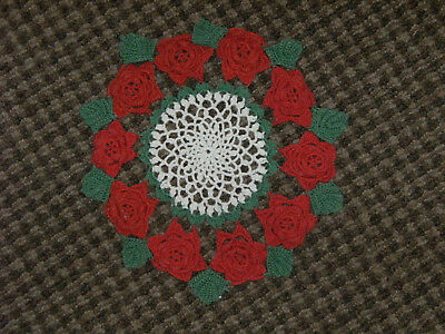 LOT OF 4-VINTAGE CROCHETED DOILIES-SMALL/MEDIUM Sizes~CHRISTMAS~BEAUTIFUL
