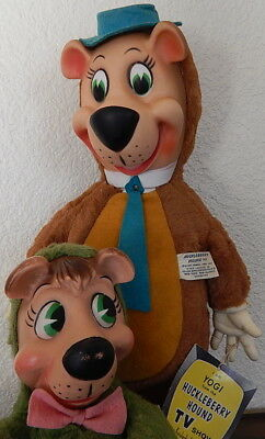 1959 Yogi Bear & Boo-Boo Plush & Vinyl Dolls Knickerbocker EXC with Hang Tag