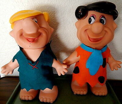 Scarce LARGE Fred Flintstone & Barney Rubble Vinyl Troll Dolls