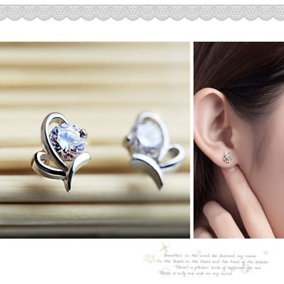 Lovely New Fashion Small Crystal HOT Heart Shape Earrings Stud Silver Plated