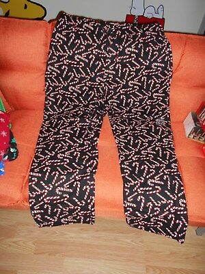 New OLD NAVY Christmas Holiday Black Red White Candy Cane Pajama Pants, Size XL