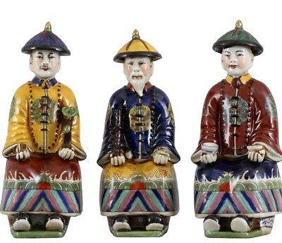 New Oriental Qing Colored Porcelain Royal Asian Men Figurines Set of 3