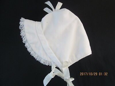 Vintage White Baby Doll Bonnet Corduroy  Ruffled Hat
