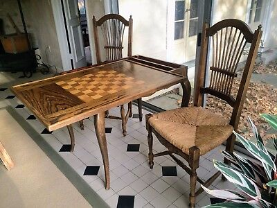 Vintage French Style Game Table - Removable Top and 2 Carves Rush Seat Chairs