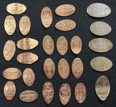 22 Pressed Copper Pennies & 5 Pressed Quarters (short/long) Disneyland Resorts
