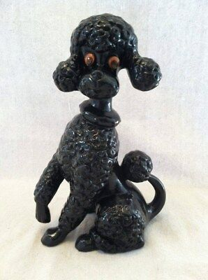Vintage Black Poodle Sitting Atlantic Mold Figurine Statue Collectable