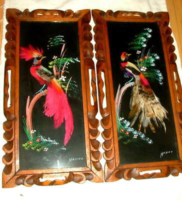 """Pair Lrg 17"""" Vtg MEXICAN FOLK ART FEATHER CRAFT BIRD PICTURE CARVED WOOD FRAME"""