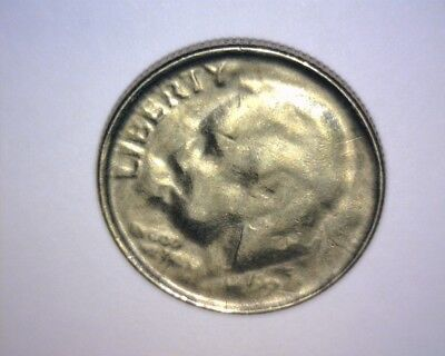 199X Roosevelt Dime, Late Stage Thin Capped Die Strike,>Brockage<Us Error Coin
