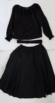 BLACK SQUARE DANCE OUTFIT, BLOUSE,SKIRT and BELT. SIZE LARGE