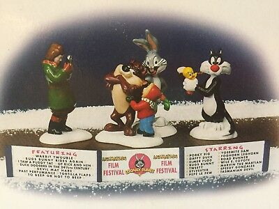 NEW Dept 56 Snow Village Looney Tunes Animated Film Festival Bugs Bunny Tweety