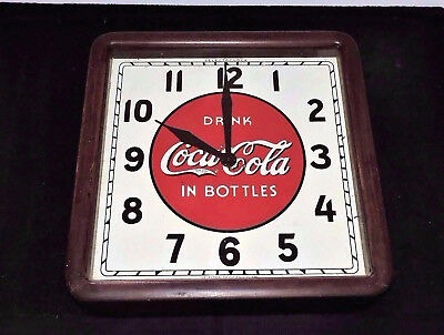 "Rare Antique Coca Cola Select advertising Wood Clock Sign ""  Nice """