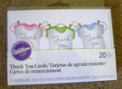 Wilton Baby Romper On A Clothesline Thank You Cards **nip**