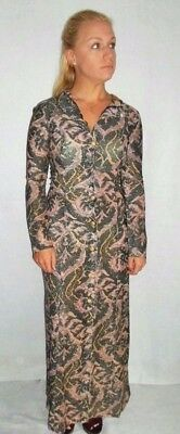1970's VTG Sheer Metallic Maxi Festival Dress Renaissance Print Button Hood S