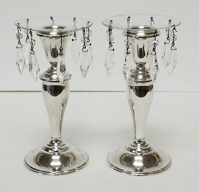 "Vintage Gorham 815/1 Sterling Weighted 6 7/8"" Candlesticks with Crystal Boboches"