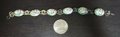 "Vintage Antique Silver Persian Hand Painted Bracelet 7"" BEAUTIFUL A40"