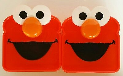2 Snack Lunch Containers Yellow Plastic O Shaped Cheerios Cereal Elmo Sandwich @