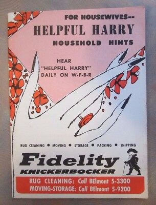 For Housewives -- Helpful Harry Household Hints Booklet 1947 Harry Goodman NYC