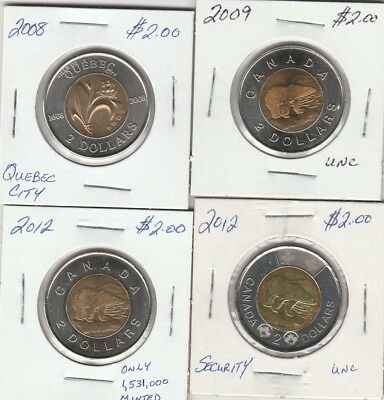 2008 Quebec City, 2009, 2012 & 2012 Security Two Dollar Coins