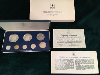 Republic of the Philippines 1977 Proof Set, Original Box Franklin Mint 8 Coins