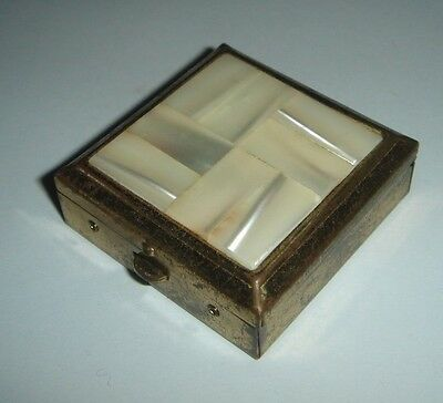 Old Pill Box Brass with Shell Inlay Nice Vintage Vanity Dressing Table Prop Use