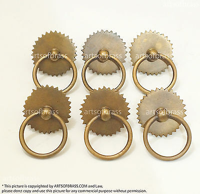 """.69"""" Lot of 6 Vintage Ring Saw Round Solid Brass Cabinet Drawer Handle Pulls"""