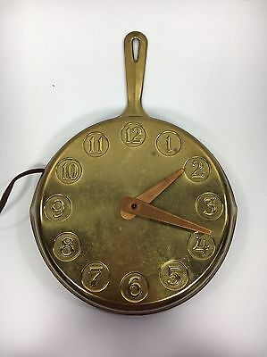 Vtg Brass & Steel Frying Pan Kitchen Electric Wall Clock Carter Craft Synchron