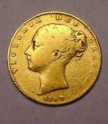 1842 GOLD GREAT BRITAIN Young Queen Victoria Shield Full SOVEREIGN COIN