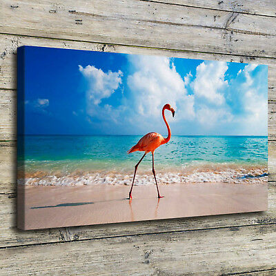 Flamingo Bird Beach Painting HD Print on Canvas Home Decor Room Wall Art Picture