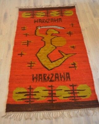Vintage 1950s Polish Hand Made Wool Kilim Tapestry Mermaid Warsaw Poland 34 X 68