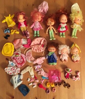 VINTAGE 1979 Lot 8 Strawberry Shortcake Dolls Huckleberry Lemon Raspberry Babies