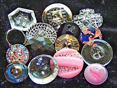 Beautiful Lot of Vintage Overlay and Crystal Glass Buttons