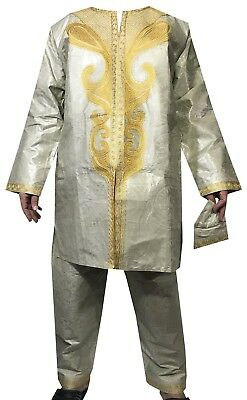 New African Men Pant Suit Traditional Brocade Suit Boho Bright Color L GreenSand