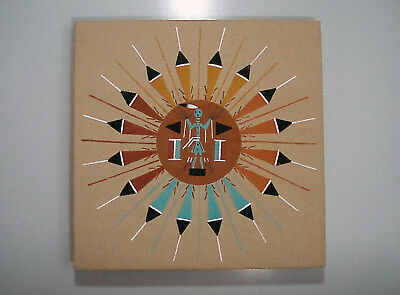 Native American Indian Navajo Sand Painting SUN & EAGLE signed Lester Johnson