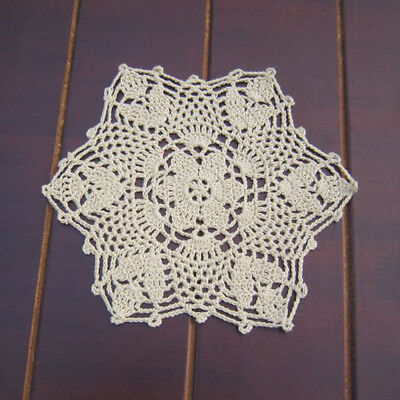 4Pcs/Lot Vintage Floral Hand Crochet Lace Ecru Doily Flower Table Placemat 8inch