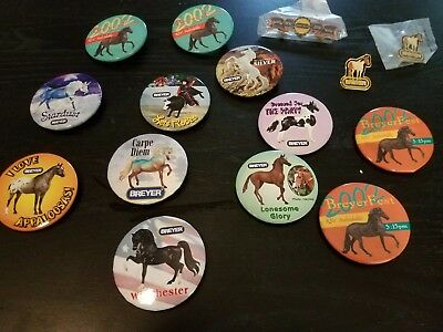 Lot of 12 Different Breyer Buttons and Pins | Good to Very Good Condition