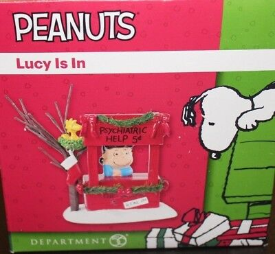 New Peanuts Lucy Is In Department 56 Psychiatric Help Woodstock 5 Cent Free Ship
