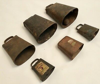 Antique Vintage LOT of 6 Copper & Hand Forged Metal Goat Cow BELL Cowbells RARE
