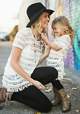 Mommy and Me Lace Shirt/Dress Outfit Set (Adult size 8, Girl size 3T)