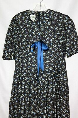 vtg LAURA ASHLEY navy SAILOR FLORAL summer COTTON DRESS UK 12 / US 8