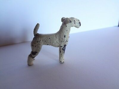 Vintage Cast Metal Wire Fox Terrier Dog Figurine Solid Animial Miniature