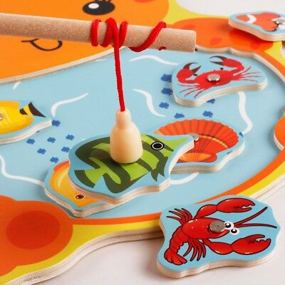 Baby Educational Toy Fish Wooden Magnetic Fishing Toys Game Kids Baby Tackle AU