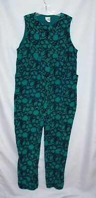 vtg LAURA ASHLEY cotton corduroy FLORAL ROMPER navy green JUMPSUIT jumper L