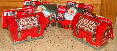 Coca-Cola Mini Tin Box Carry-All 2010 Group of 4 Christmas Ornaments New w/Tags
