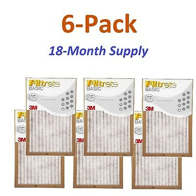6-Pk (24 x 24 x 1) Filtrete-Basic 3M Air-Filter Replacement Pad Furnace Dust Lot