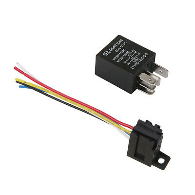 Car Truck Auto DC 12V 20A/30A SPDT Relay & Socket 5Pin Relays 5 Wire Black