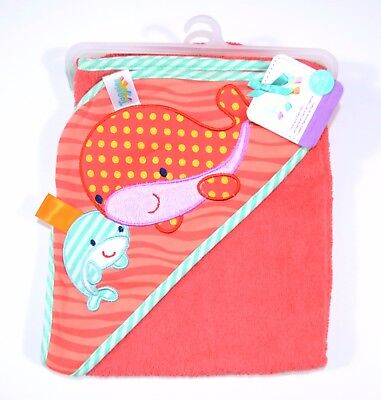 New 100% cotton 350gsm Baby Kids Bath Towel Jersey Hooded Towel Whale Design