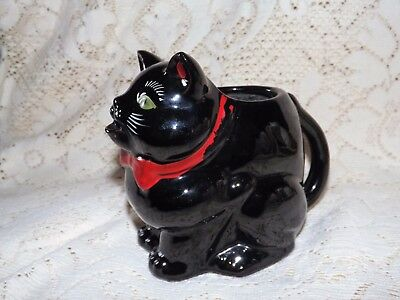 Antique Vintage Black Cat Pitcher  Red Clay . Sooo Cute! Excellent condition