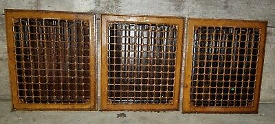 3 Antique Metal Heating Vent Cover Register Grate 14x12 Architectural Old