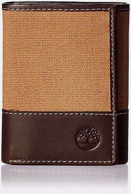Timberland Men's Baseline Canvas Leather Trifold Wallet Khaki Brown New Gift Box