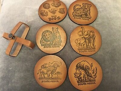 Six Leather South Africa Coasters w/ Strap